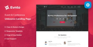 Evnto - Event & Conference Unbounce Landing Page Template