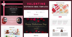 Valentine - Responsive Email Template With Online Stampready & Mailchimp Builders