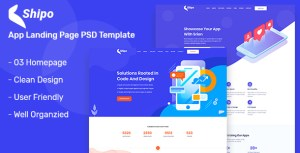 Shipo – App, Software & SAAS Landing Page PSD Template