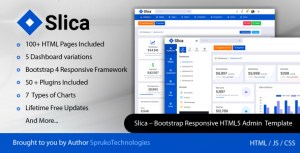 Slica – Bootstrap Clean Responsive Flat Admin Panel Dashboard Backend HTML5 Template