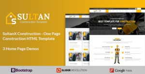 SultanX Construction - One Page Construction HTML Template