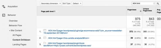 Rapport Google Analytics indiquant 404 pages d'erreur