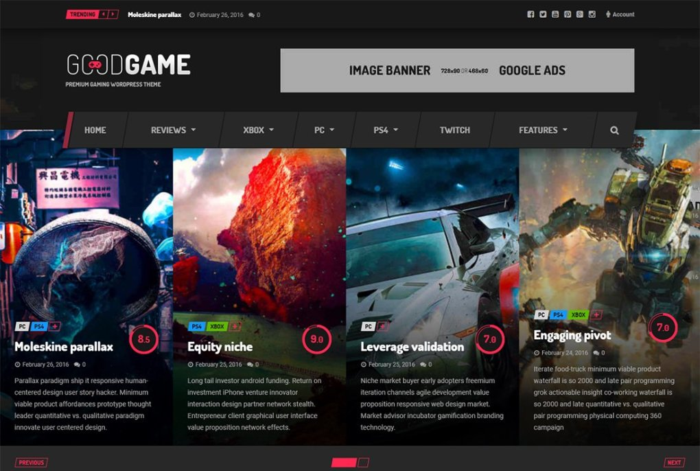 Thème de streaming en direct Goodgame WordPress