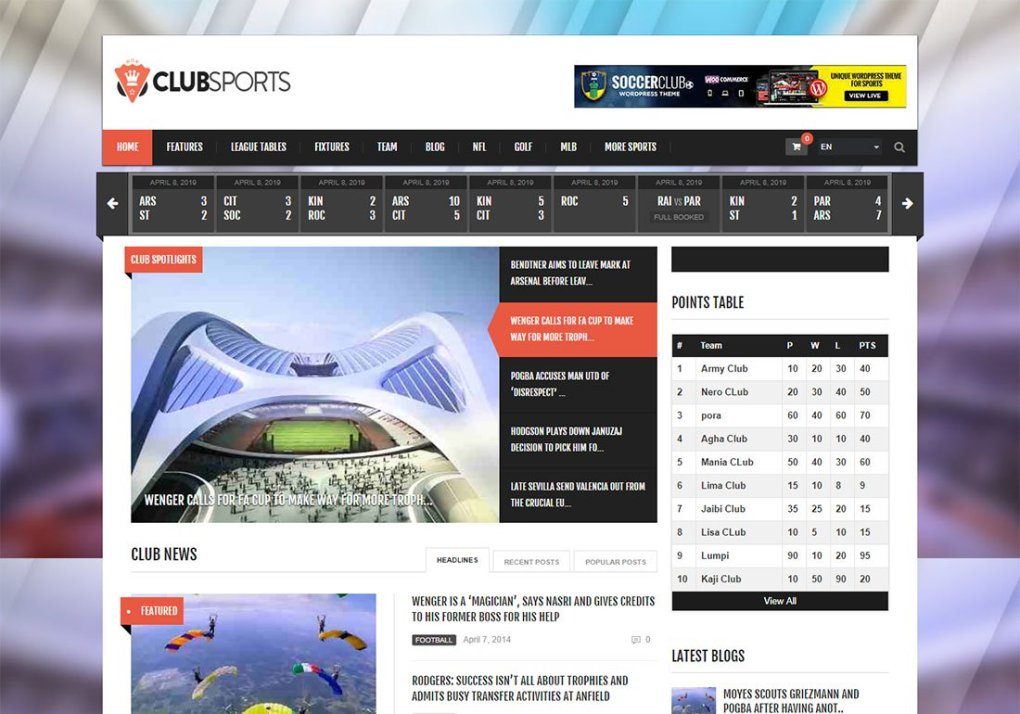 Thème WordPress Club Sports Baseball