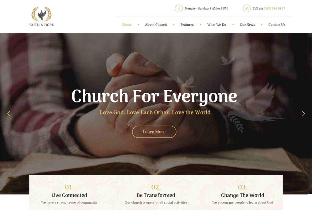 Thème de streaming en direct de Faith & Hope WordPress