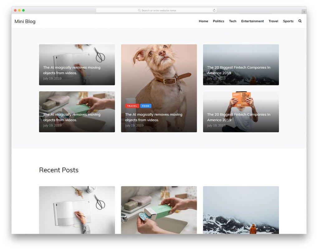 Modèle gratuit de miniblog