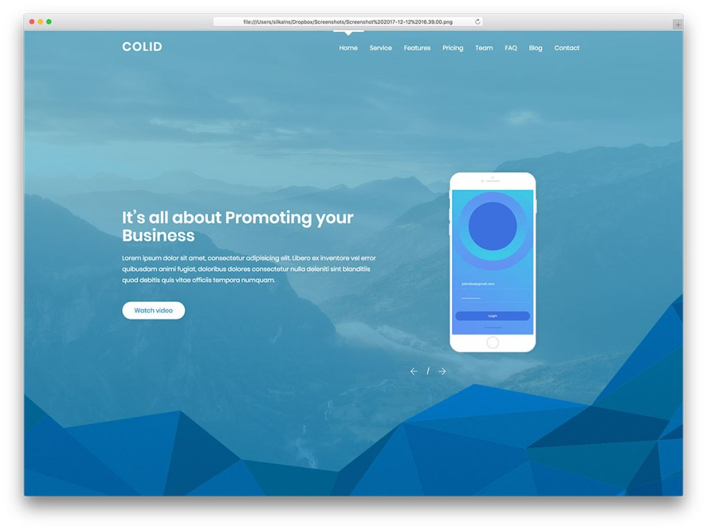 colid free mobile-friendly website template