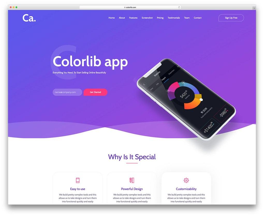 modèle de site Web gratuit adapté aux mobiles ca-app
