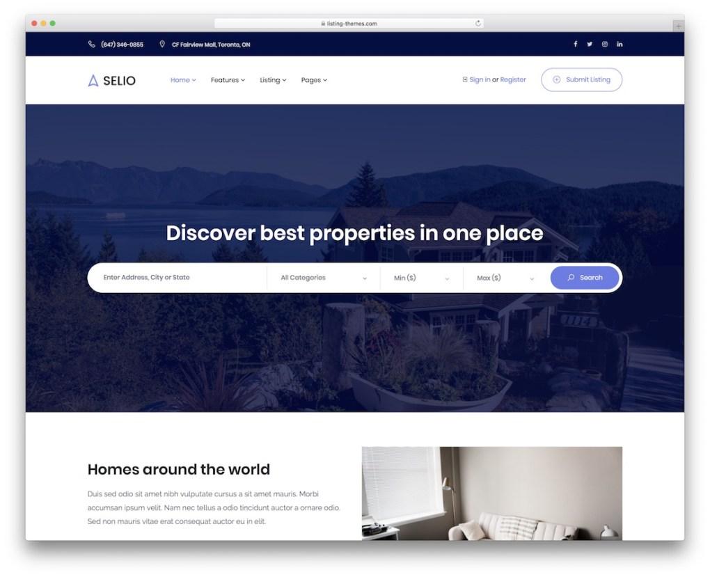 modèle de site Web immobilier selio
