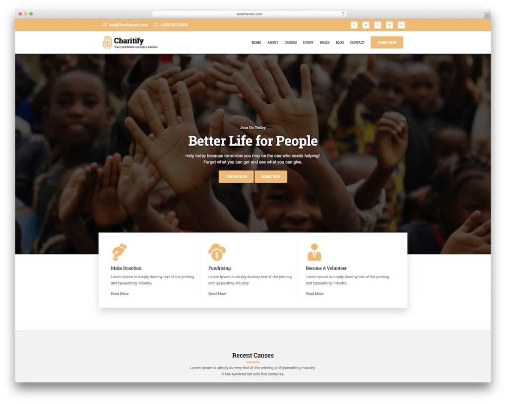 modèle de site Web charitify