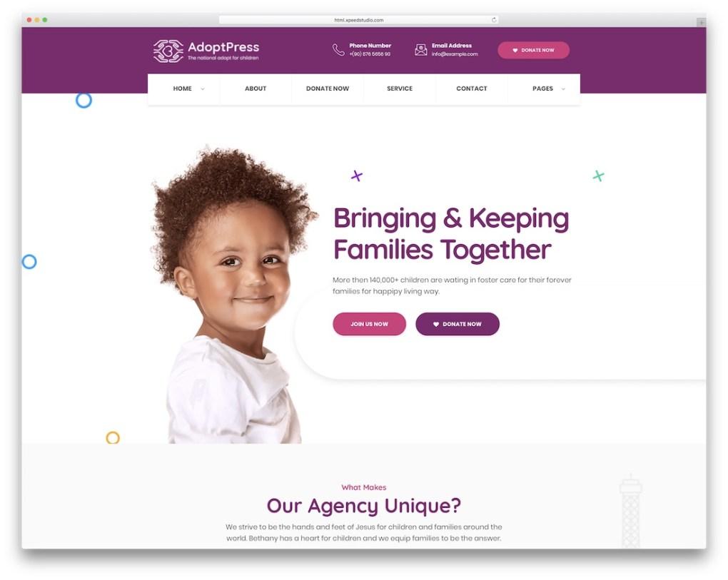 modèle de site Web adoptpress