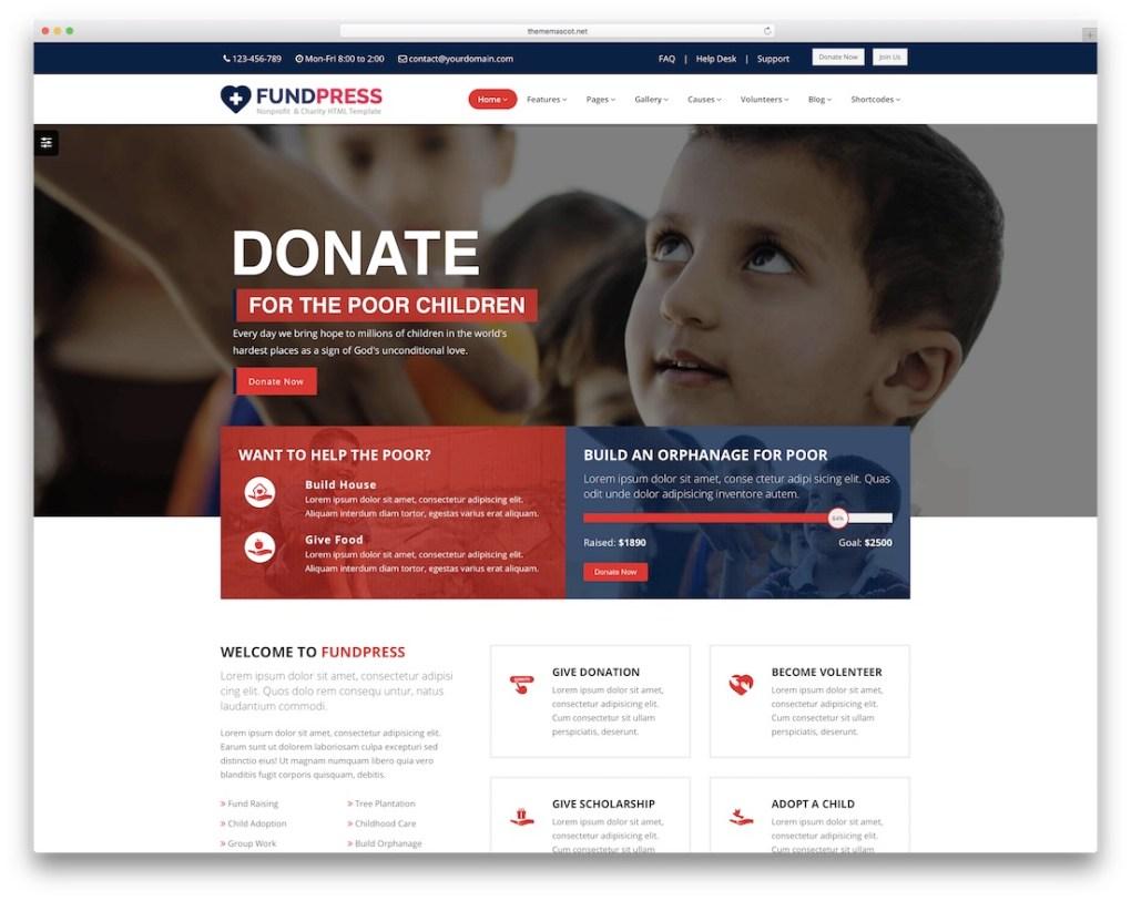 modèle de site web fundpress