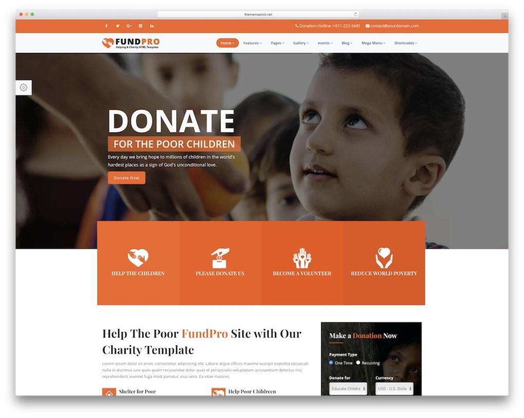 modèle de site web fundpro