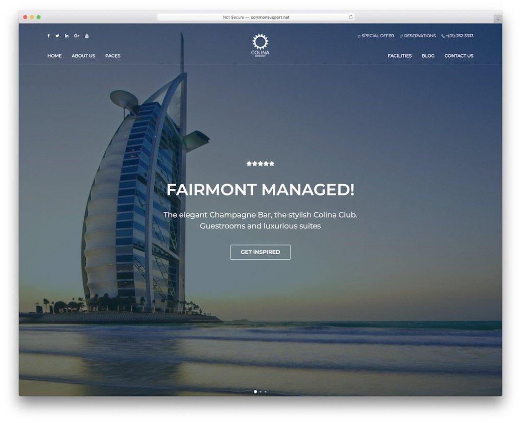 modèle de site Web d'hôtel colina