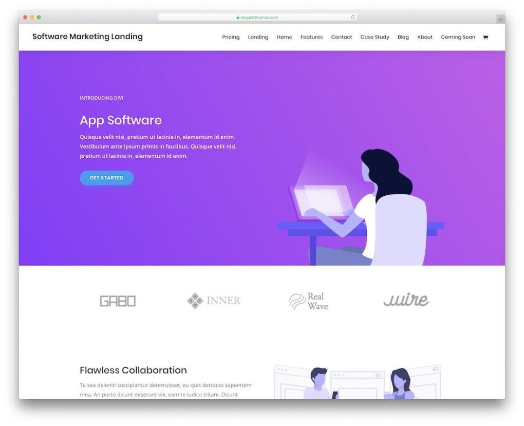 modèle de site Web divi une page