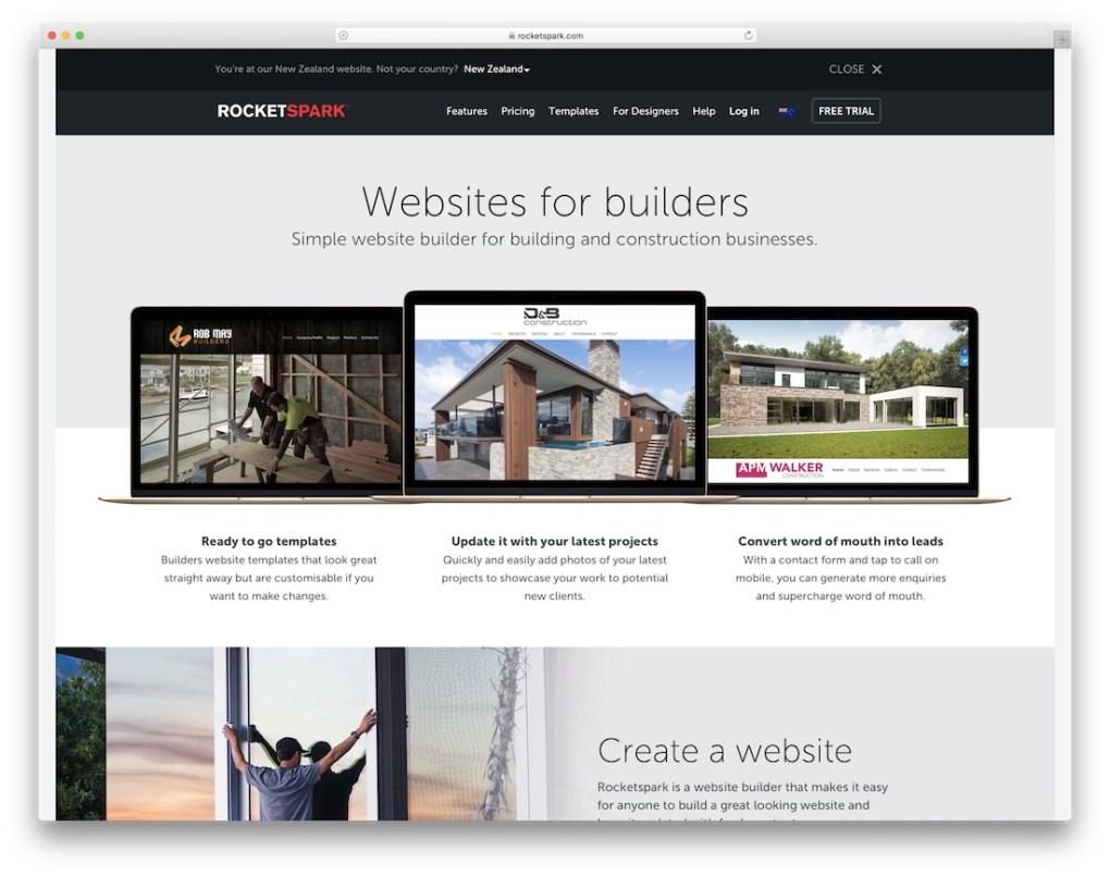 constructeur de site web rocketspark pour entreprise de construction