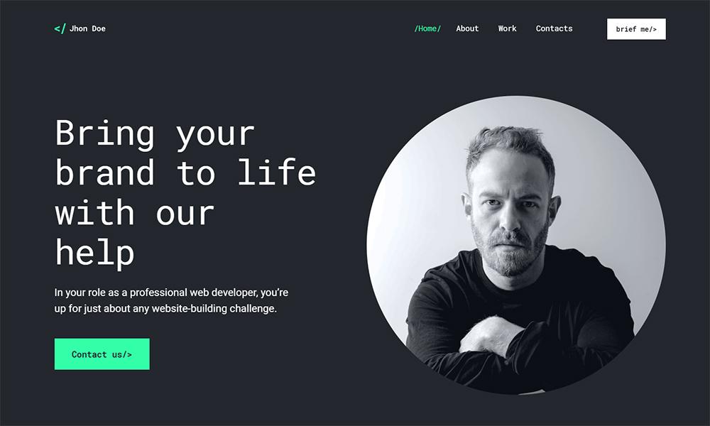 Jhon Doe - Thème WordPress pour développeur Web contemporain