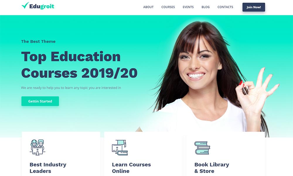 Edugroit - Modèle de site Web de cours en ligne Thème WordPress
