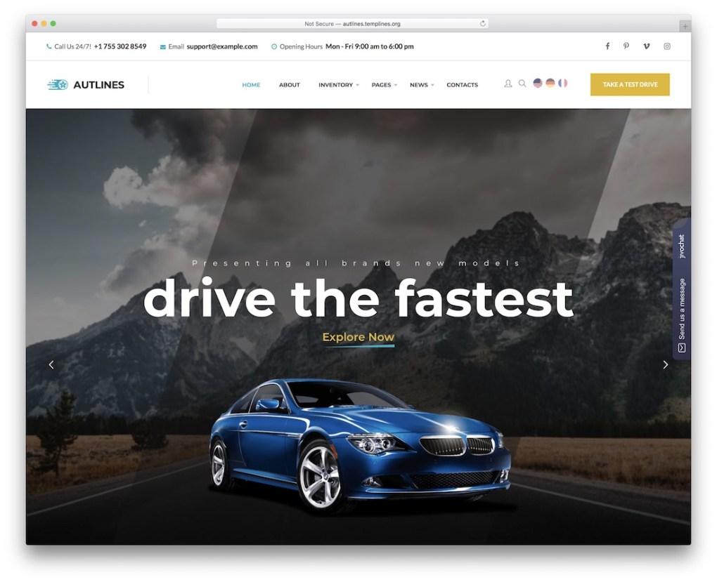 autlines taxi location de voitures service wordpress thème