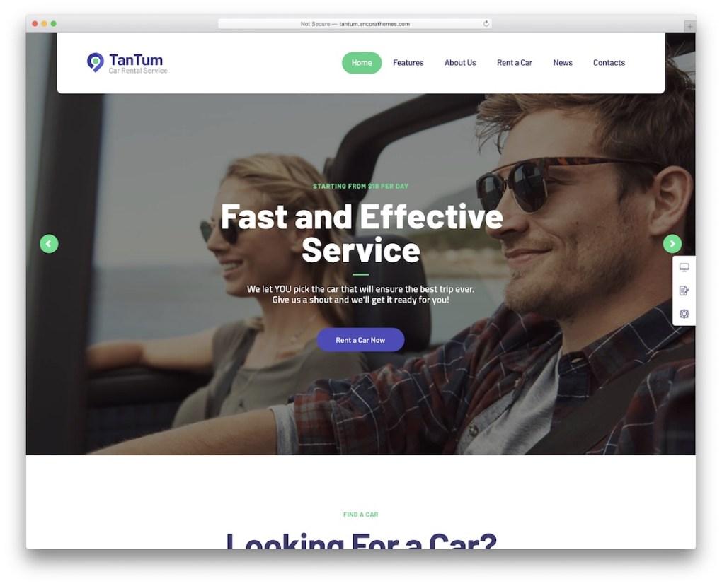 service de location de voitures de taxi tantum thème wordpress