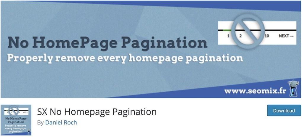 pas de plugin wordpress pour la pagination de la page d'accueil