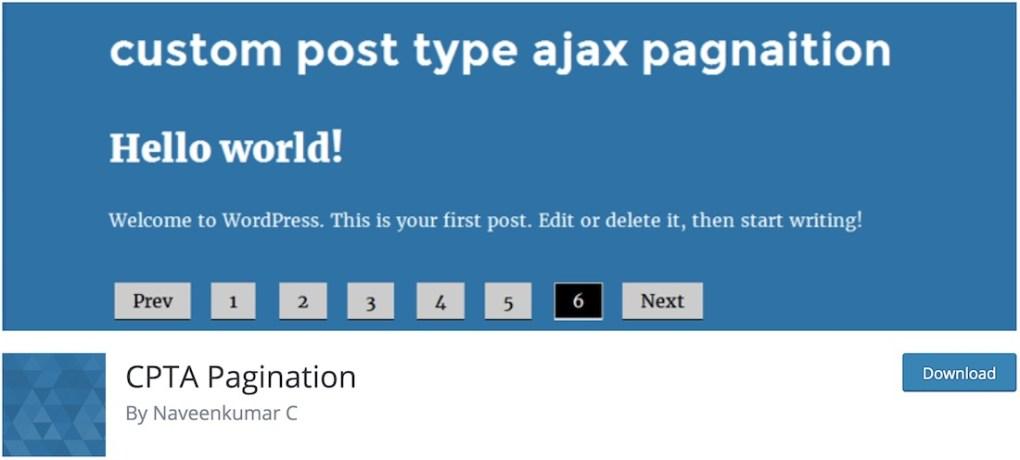 type de publication personnalisé plugin ajax pagination wordpress