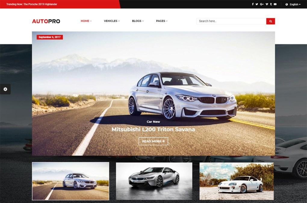 thèmes wordpress pour le magazine autopro cars