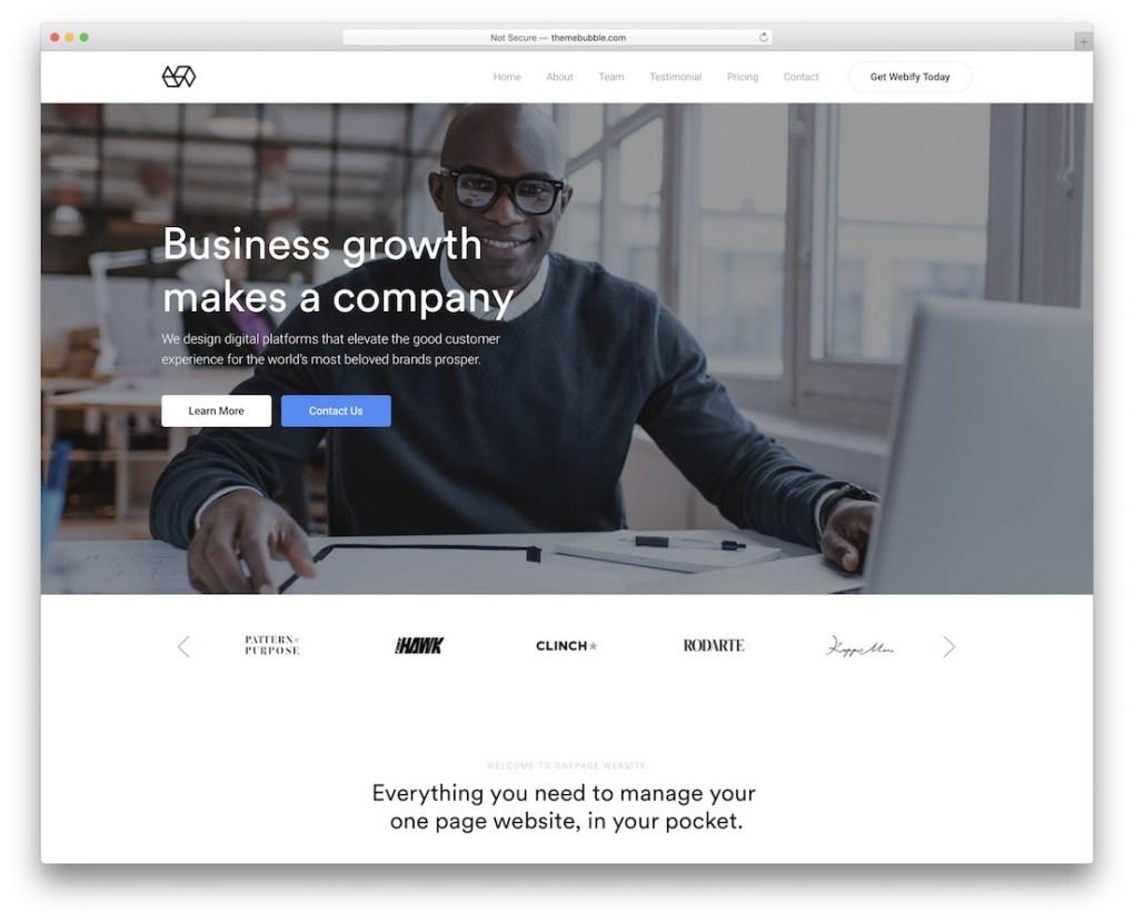 Thème WordPress pour petites entreprises Webify