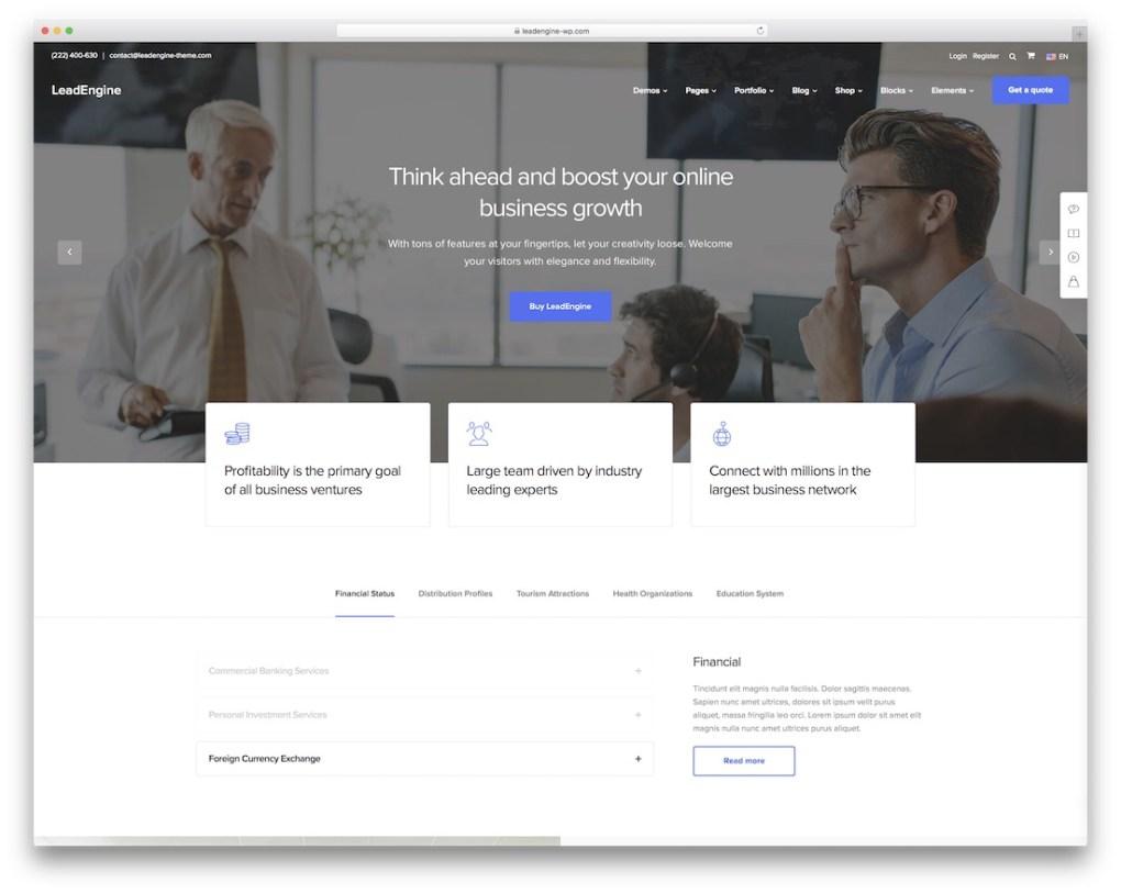 thème wordpress pour petites entreprises leadengine