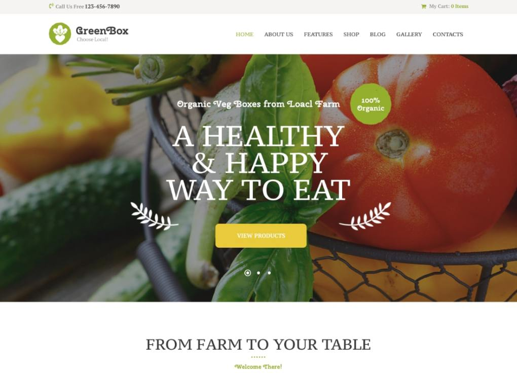 Green Box | Thème WordPress pour le magasin Eco Farm & Organic Products Store