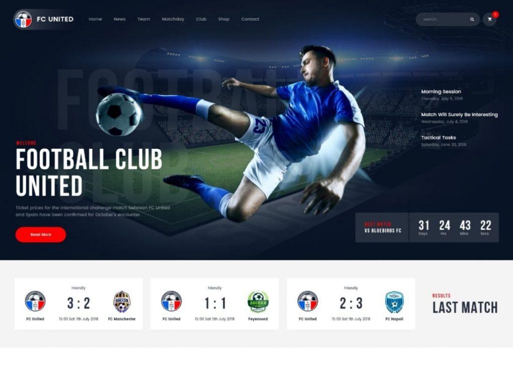 Thème WordPress Football, Football et Sports