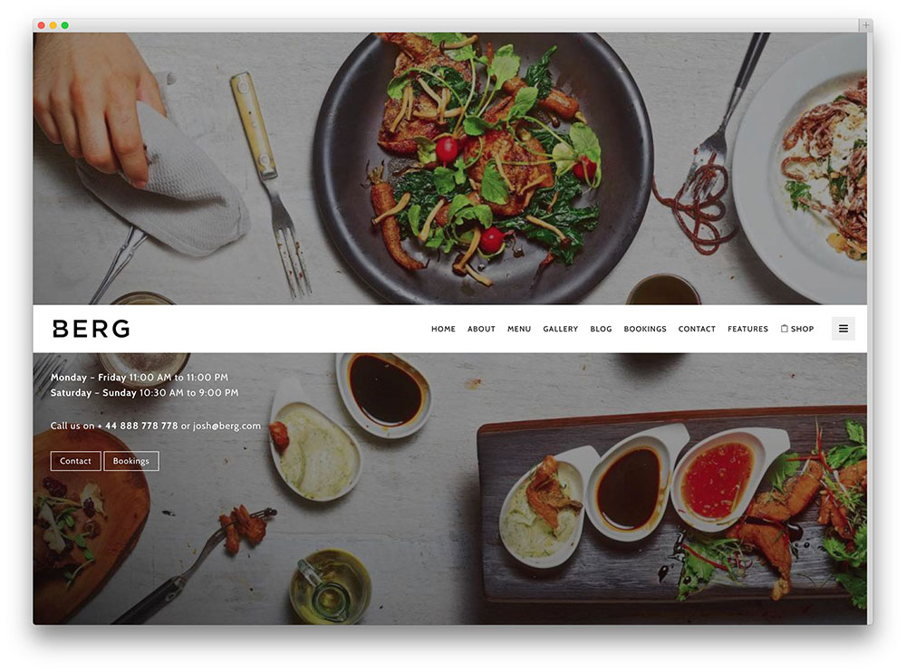 berg restaurant theme with smooth transitions