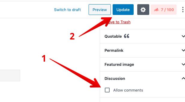 Désactiver les commentaires sur l'éditeur de blocs de pages