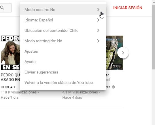 YouTube opción modo oscuro