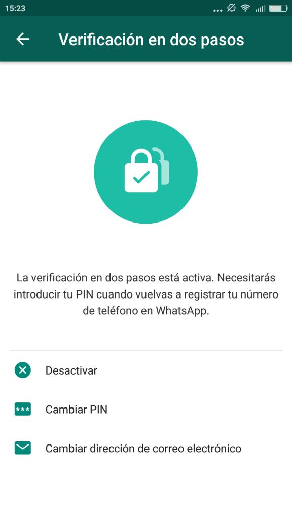 Opciones de PIN en WhatsApp