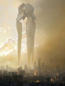 """Embarcação kriptoniana que armazenava prisioneiros na Zona Fantasma e foi usada por Zod contra Kal-El. Cena de """"Homem de Aço"""" (2013)."""