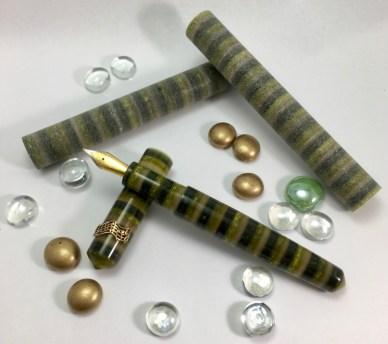 Extended Idyll in Conway Stewart Evergreeen with Custom Bronze Music Roll Stop - Medium