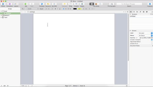 Scrivener Walkthrough - Blank project screenshot