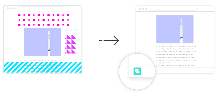 Illustration of a side-by-side comparison of a busy computer screen with lots of ad next to a clean, ad-free experience with Scroll.