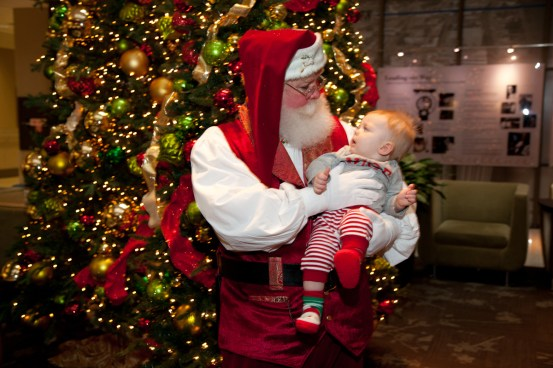 Liam Holzer isn't sure what to think of Santa.