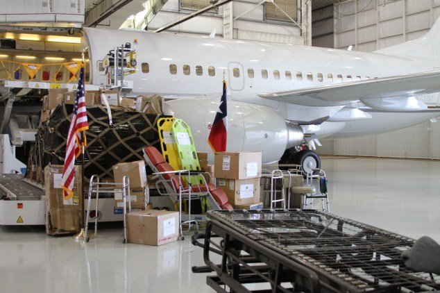 Cargo is prepped for transport on the Boeing 737 aircraft.