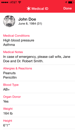 medical ID example