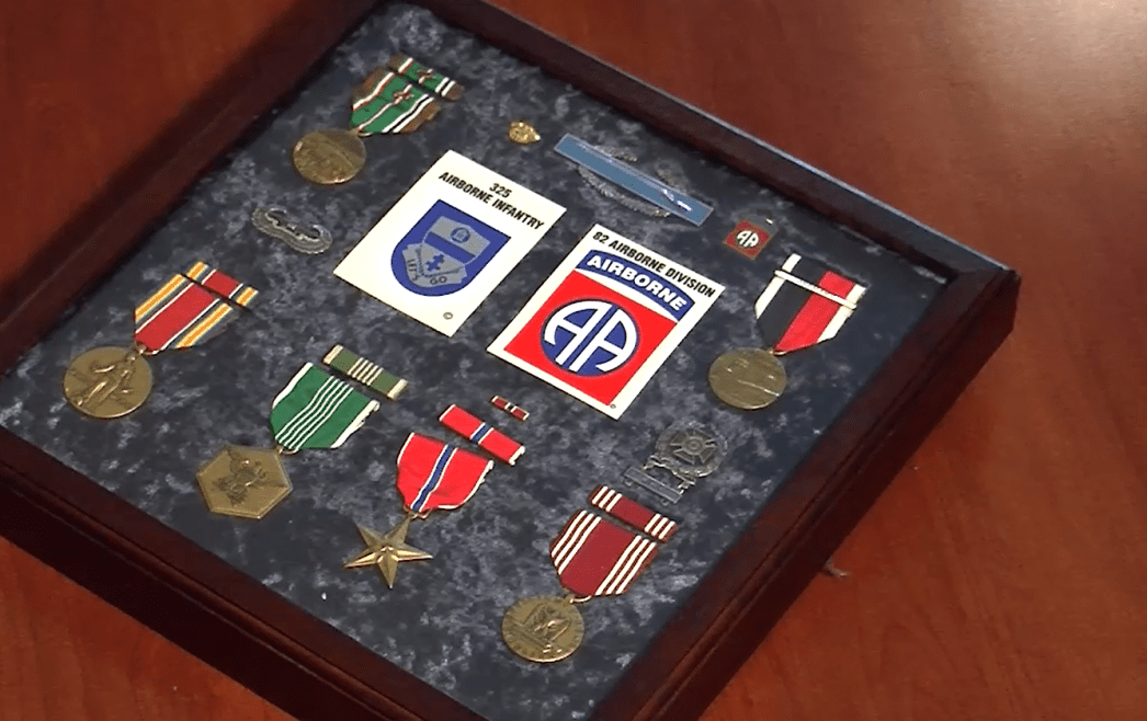Medals that Harris earned from his service in World War II.