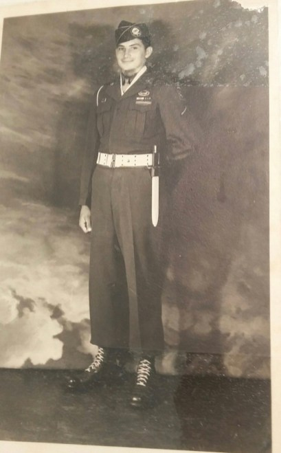 Harris in his Army uniform in 1945.