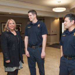 After heart attack, woman thanks firefighters who saved her life