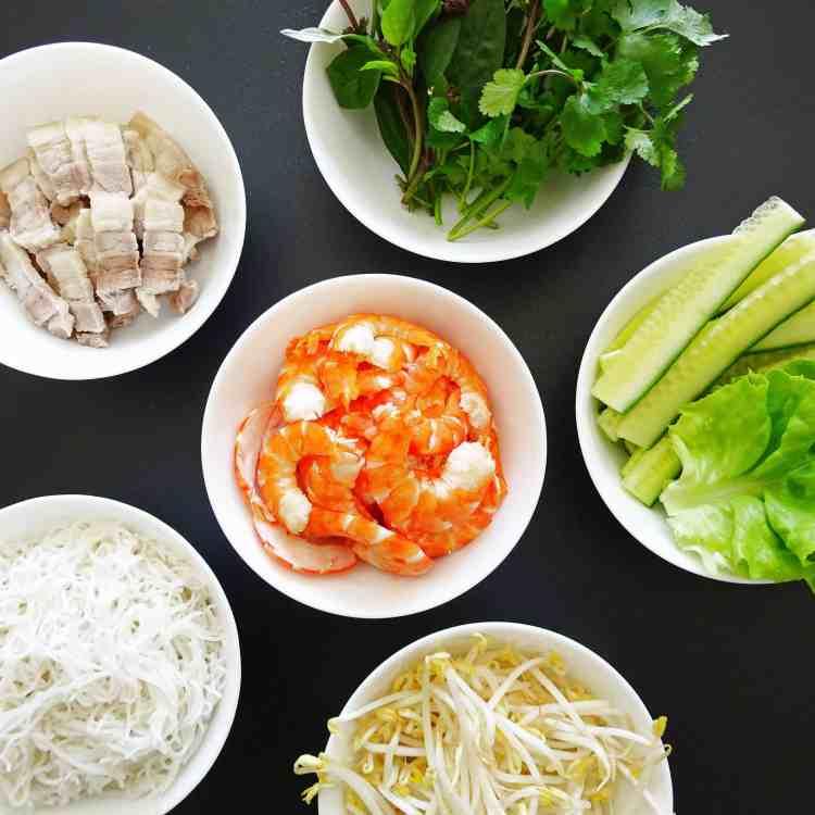 Traditional Vietnamese Rice Paper Rolls Ingredients