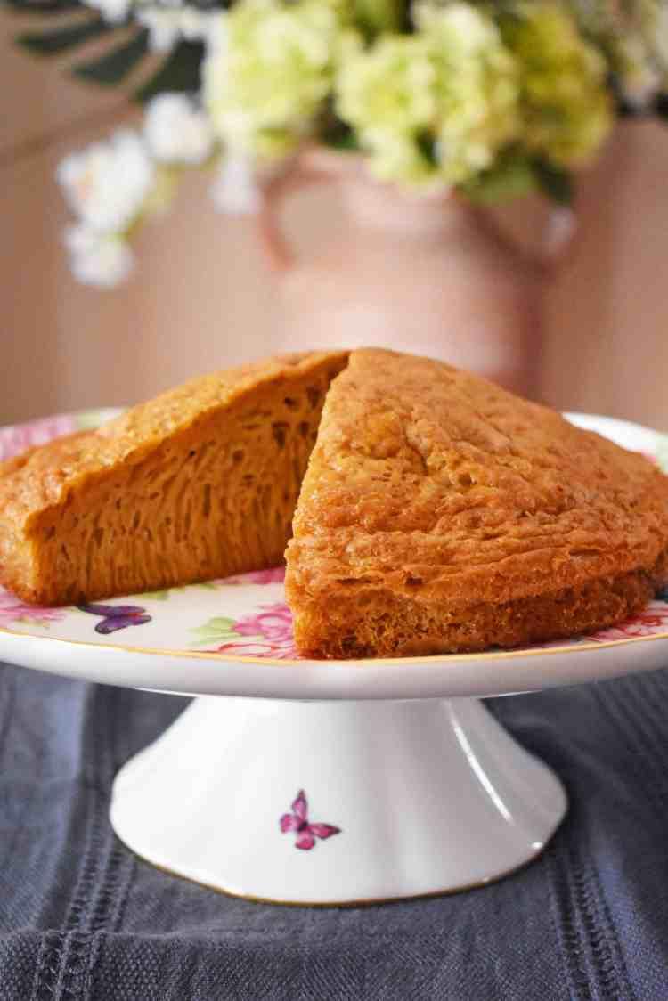 Brown Sugar and Vanilla Honeycomb Cake on Platter