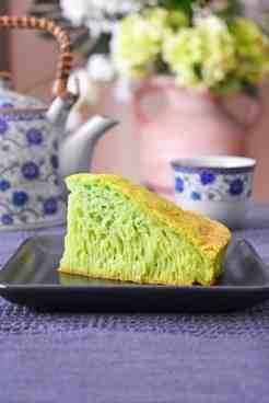 Pandan Honeycomb Cake Slice