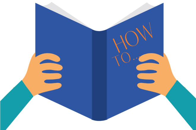 """Drawing of hands holding a book with the title """"How to"""" to let reader know this is where the step-by-step guide can be found. The document is part of the scrum framework"""