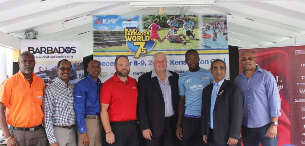 The MERBW7s Management team and key partners at the official Tournament launch at the Radisson Aquatica Resort, Barbados. (left to right) Rudolph Blackman (Courtesy Rent-A-Car), Mark Thompson (Tourism Development Corporation), Devon Chase (Barbados Tourism Marketing Inc.), Nik Lashley (Mitsubishi Electric Barbados representative), Brian Stollmeyer (MERBW7s), Sean Ward (Barbados Rugby 7s Team Captain), Hiranand Thani (The Royal Shop), and George Nicholson (MERBW7s).